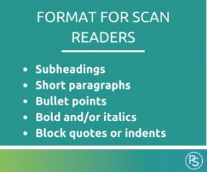 Format for scan readers